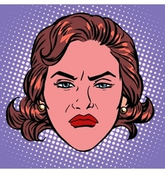Retro emoji wicked contempt woman face vector