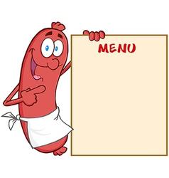 Sausage Cartoon Mascot Character Showing Menu vector image vector image