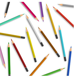 scattered pencils on white background vector image vector image