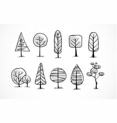 Set of doodle sketch trees on white background vector