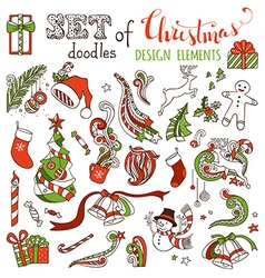 set of doodles Christmas design elements vector image