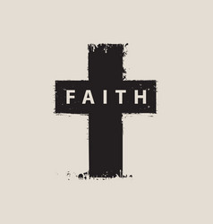 Sign of the scratched cross with the word faith vector