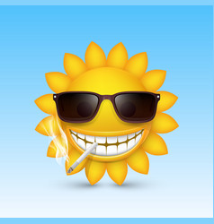 smiley sun glasses smoke vector image vector image