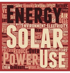 Solar power how does it save the environment text vector