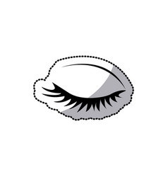 Sticker silhouette woman eye closed vector