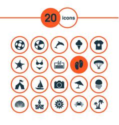 Sun icons set with mammal lifesaver beach vector