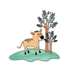 Tiger cartoon in forest next to the trees in vector