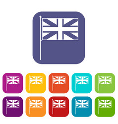 Uk flag icons set vector