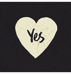 yes in heart shape vector image vector image