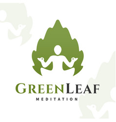 yoga leaf logo concept harmony insignia vector image vector image