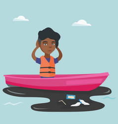 Young woman floating on a boat in polluted water vector