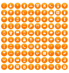 100 flowers icons set orange vector