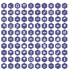100 umbrella icons hexagon purple vector