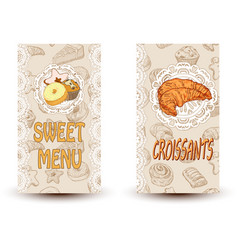 Sweet menu and croissant vector