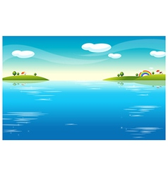 Water landscape houses vector