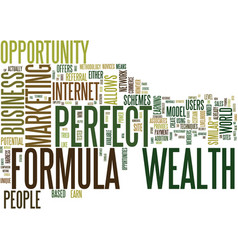 The perfect wealth formula text background word vector