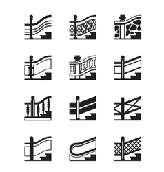 Different types of railings vector