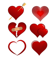 Heart designs set for valentines vector