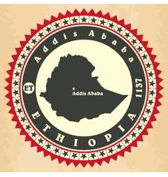 Vintage label-sticker cards of ethiopia vector