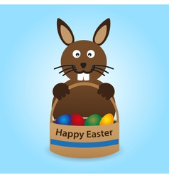 happy easter rabbit with basket full of eggs eps10 vector image