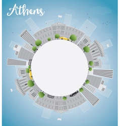Athens skyline with grey buildings vector