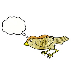 Cartoon garden bird with thought bubble vector