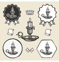 Candle vintage symbol emblem label collection vector