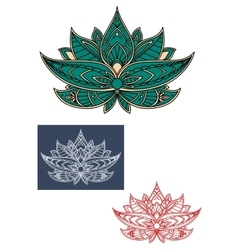 Green indian lotus flower with ornament vector
