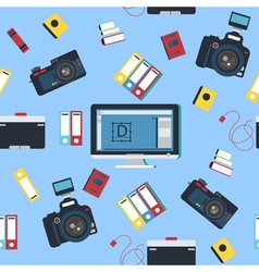 Photographer tools seamless pattern with camera vector