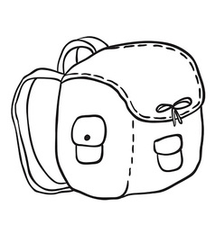 Black and white camping bag vector