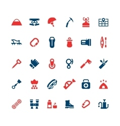 Set color icons of camping and mountaineering vector