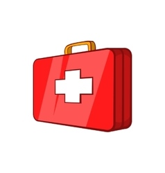 First aid kit icon in cartoon style vector