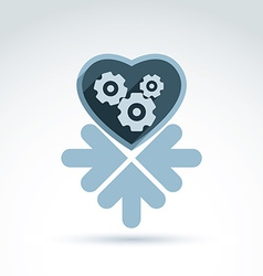 A mechanical heart love machine icon wit vector