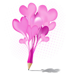 Abstract pink pencil heart balloon icon vector