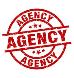 Agency round red grunge stamp vector