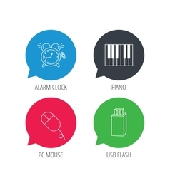 Alarm clock usb flash and pc mouse icons vector