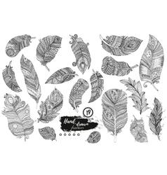 Artistically drawn stylized set of boho vector image