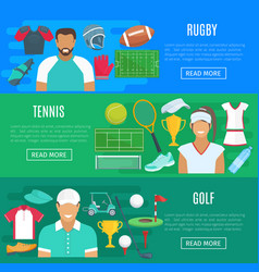 banners for rugby tennis and golf sport vector image vector image