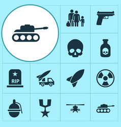 Battle icons set collection of rip danger vector