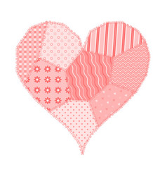 Card with patchwork heart vector