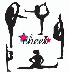 Cheerleader silhouette set vector