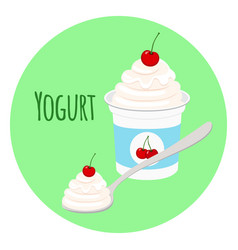cherry yogurt in plastic cup milk cream product vector image vector image
