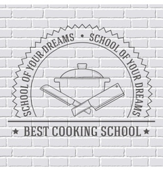 Cooking logo or template on a white brick wall vector
