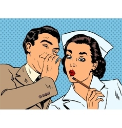 diagnosis patient nurse and male gossip surprise vector image