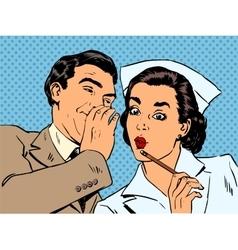 Diagnosis patient nurse and male gossip surprise vector