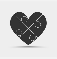 four black piece jigsaw puzzle heart love vector image