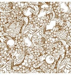 Fruits doodle background Cartoon fruits vector image