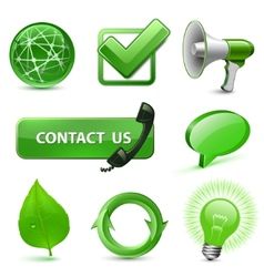 Green web icons vector