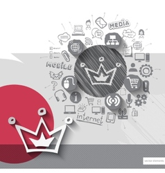 Hand drawn crown icons with icons background vector