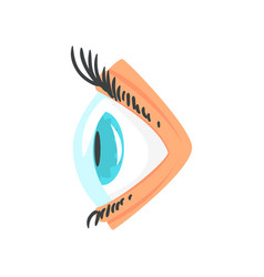 Human eye with contact lense side view cartoon vector